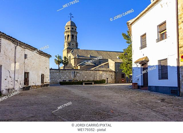 Baeza, Andalusia, Spain: View of the bell tower of the Cathedral of Santa María, from the Plaza de Arcediano