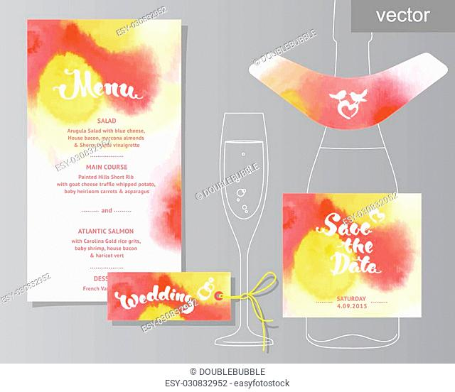 Vector set of invitation cards with watercolor elements, hearts.Watercolor wedding collection. Design invitation templates. Save the date calligraphy