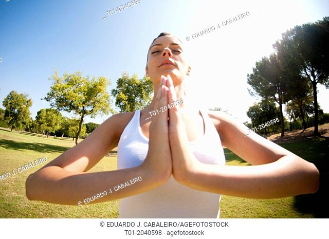 yoga girl in a park