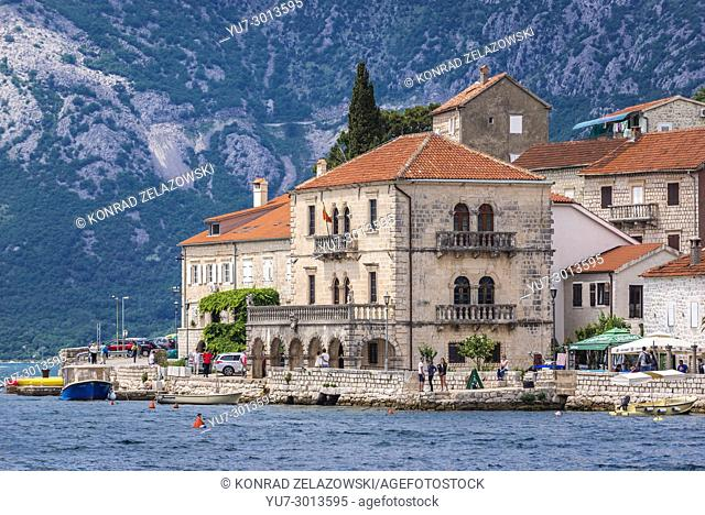 Perast historical town seen from the Bay of Kotor on the Adriatic Sea in Montenegro. View with Palace of Vico Bujovic