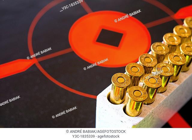 Rifle Ammunition caliber 30-30 on target disk
