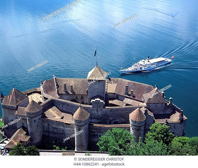 Chillon castle, steamer, Lake Geneva, Lac Leman, M