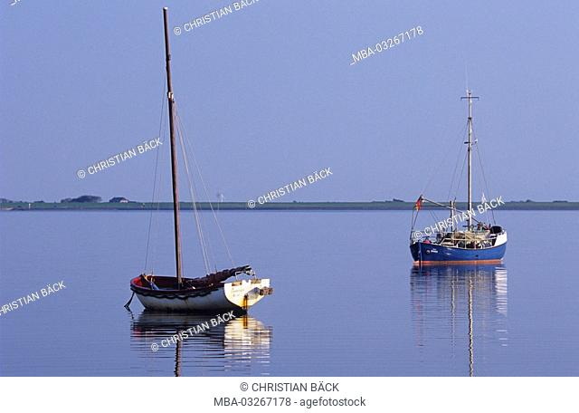 Boats in front of the Hallig Hooge, Schleswig - Holstein, North Germany, Germany