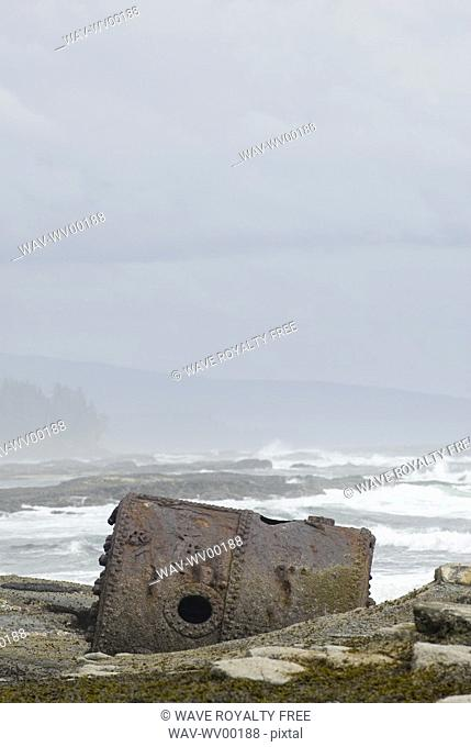 Rusty Steamship Boiler that has been in this place since the ship wrecked in 1898, Pacific Rim National Park, B C