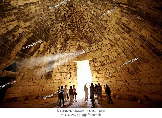 Interior of the Treasury of Atreus is an impressive 'tholos' beehive shaped tomb on the Panagitsa Hill at Mycenae  Mycenae UNESCO World Heritage Archaeological...