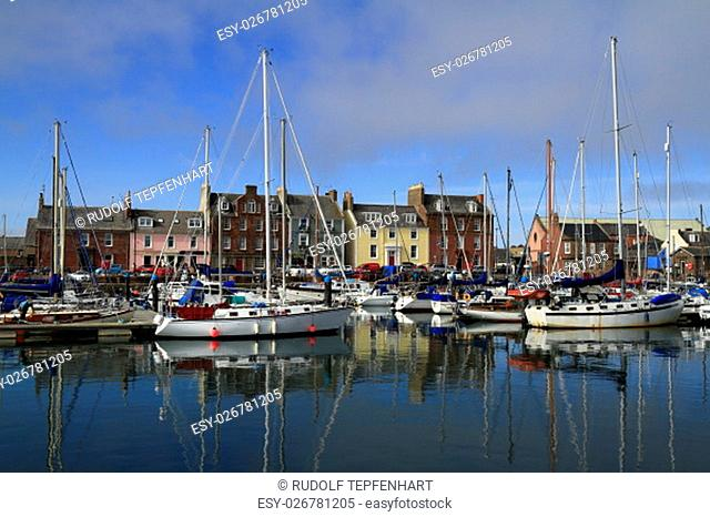 Fishing boats in beautiful Arbroath Harbor, Scotland