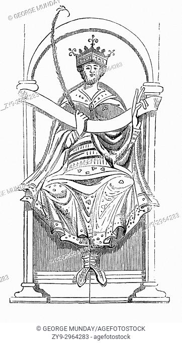 "An early illustration of King Edgar (943â. "" 975), known as the Peaceful or the Peaceable, and King of England from 959 until his death"