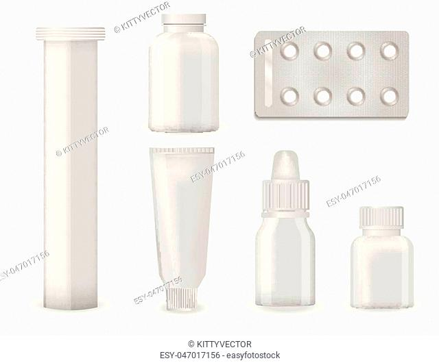 Bottle pack template mockup blank pharmaceutical blister of pills and capsules tube container for drugs clean plastic packaging for medication vector...