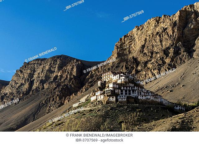 Key Monastery or Key Gompa, a Tibetan Buddhist monastery located on top of a hill, Spiti valley, Himachal Pradesh, India