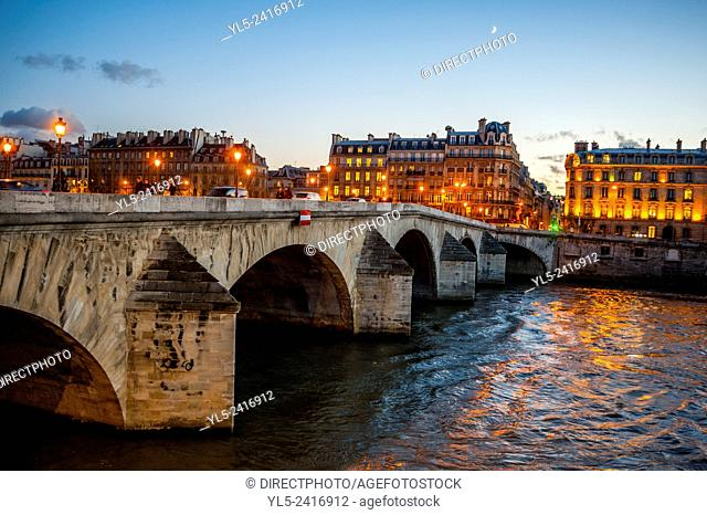 Paris, France, Seine River at Dusk Scenics