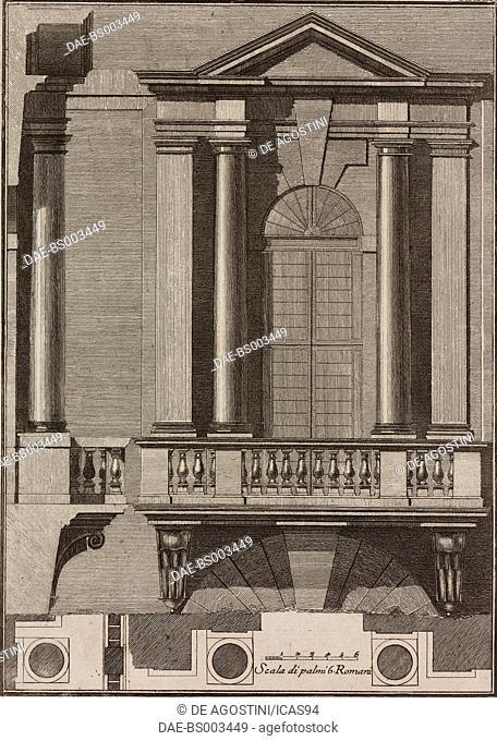 Window designed by Baldassarre Peruzzi for the Spinola Palace (Palazzo dei Convertendi), Rome, Italy, engraving from Il Vignola Illustrato