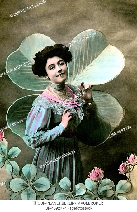 Woman in front of a four-leaf clover, 1910s, Germany