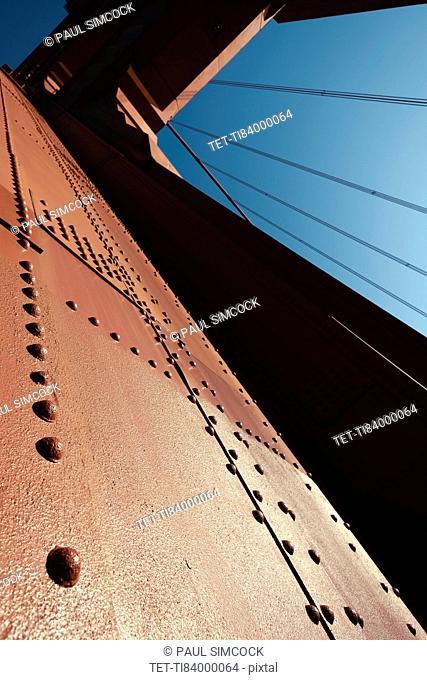USA, California, San Francisco, Golden Gate Bridge, close up of bridge structure