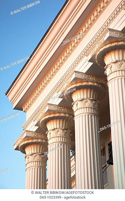 USA, Alabama, Montgomery, Alabama State Capitol, b  1851, columns, sunset