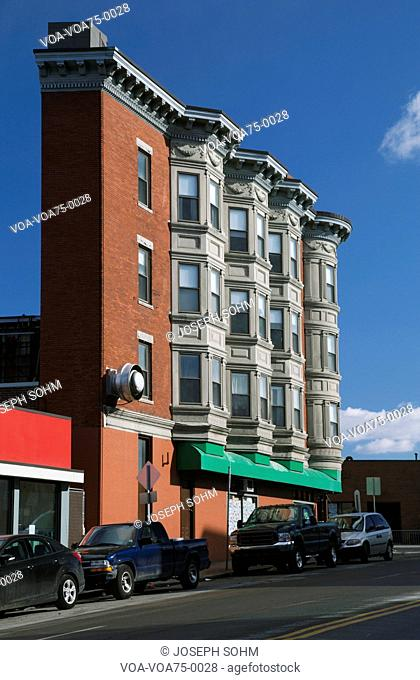Narrow building with condos, South Boston, Massachusetts, USA