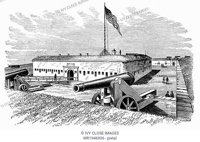 The sketch is an eye-witness view by American historian Benson J. Lossing that was done while he was visiting Fort Macon in December 1864