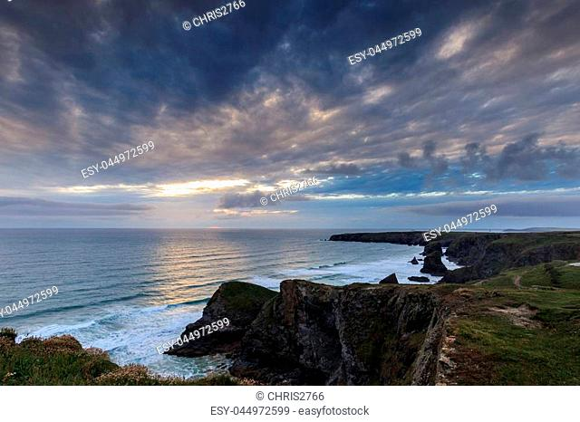 Sunset at Bedruthan steps, cornwall, on the summer solstice 20th June 2016