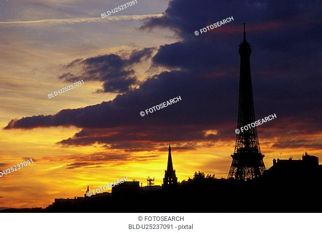 Eiffel tower, antenna, cloudy, cloud, capitol, Europe, aichner