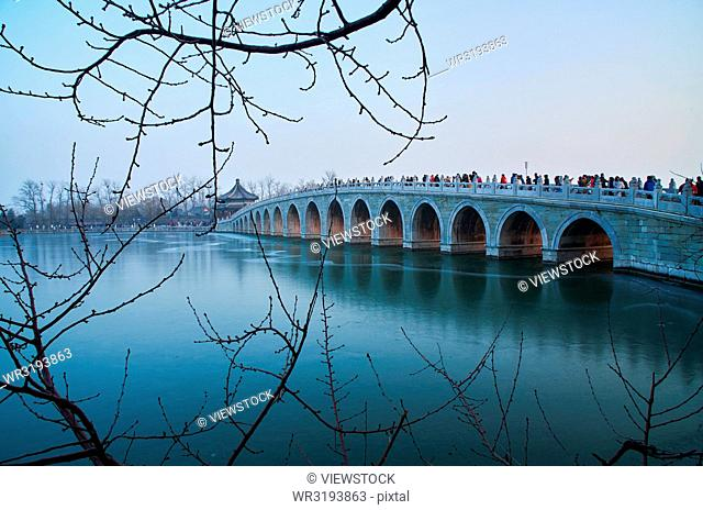 The marble seventeen-arch bridge which,The Summer Palace,Beijing
