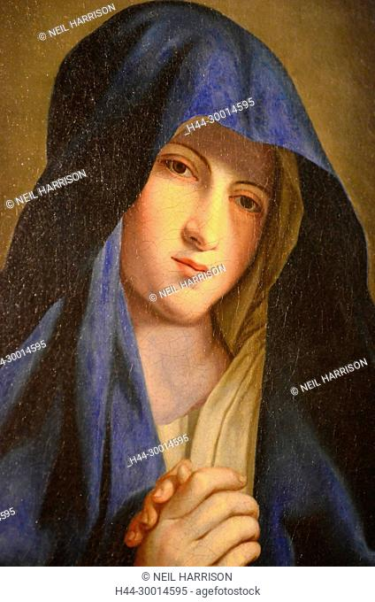 Virgin Mary with the blue veil. 17th century oil painting