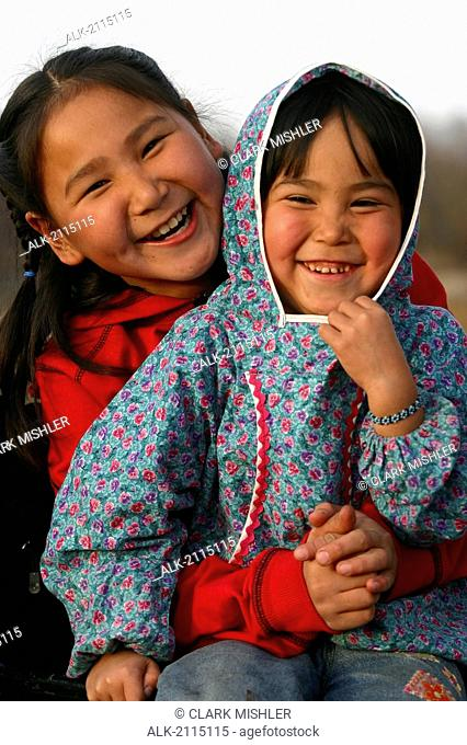 Portrait Of Yupik Native Alaskan Girls Near Kwethluk Alaska