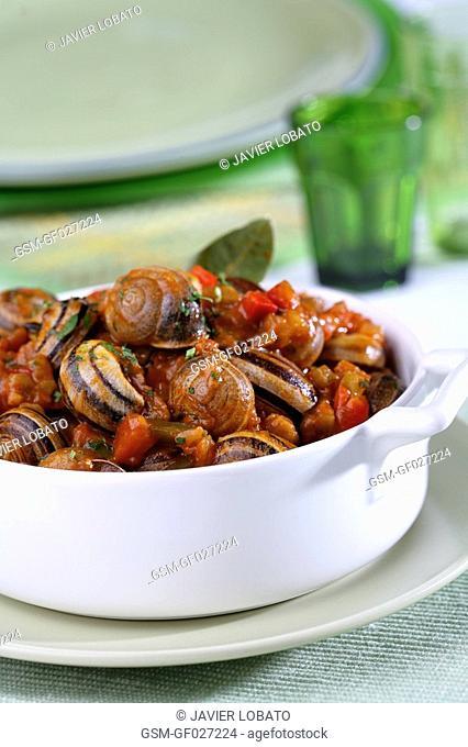 Snails with samfaina kind of ratatouille