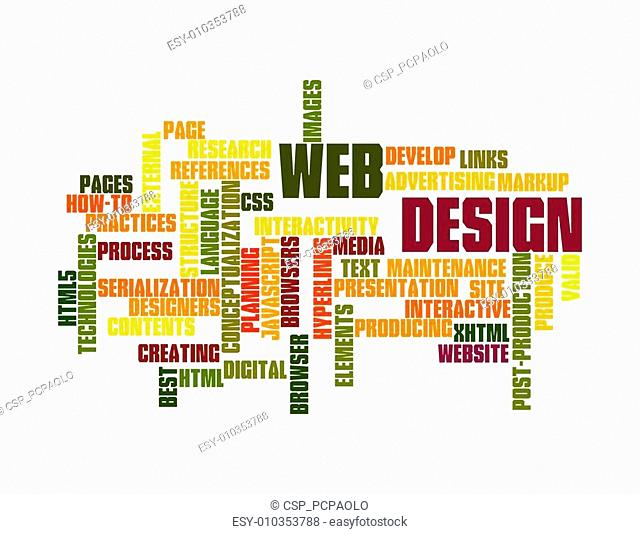 Web Design word cloud isolated on white background