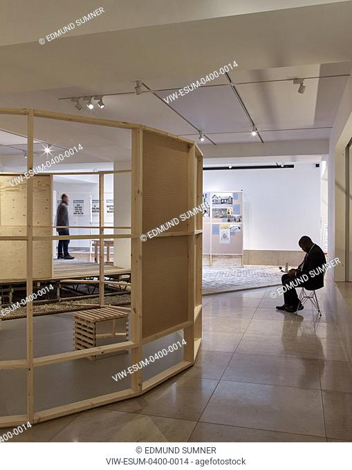 Looking through central structure. Making it happen: new community architecture exhibition at RIBA, London, United Kingdom