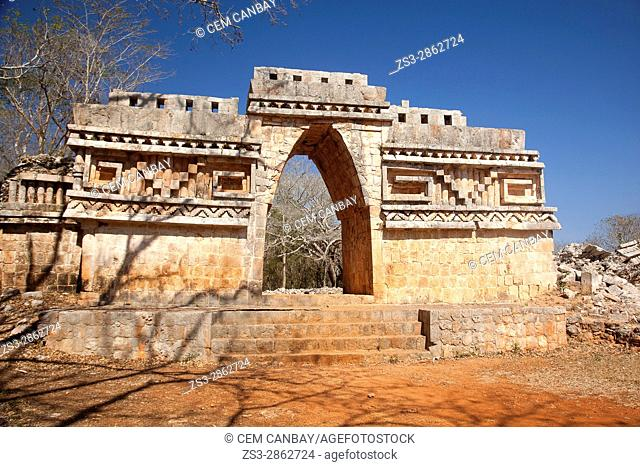 View to the Labna Arch in the Labna Archaeological site, Puuc Route, Merida, Yucatan State, Mexico, Central America