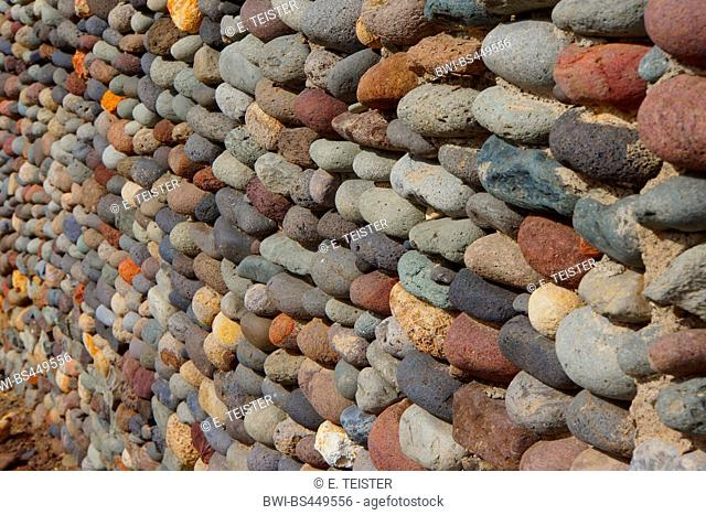 wall made of pebble stones, Canary Islands, Gran Canaria, San Nicolas De Tolentino