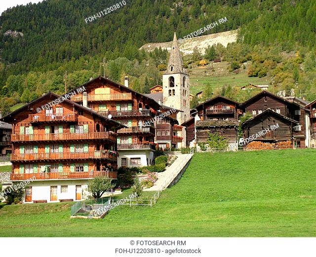 Switzerland, Europe, valais, wallis, Val D'Herens, Evolene, village, chalets, church