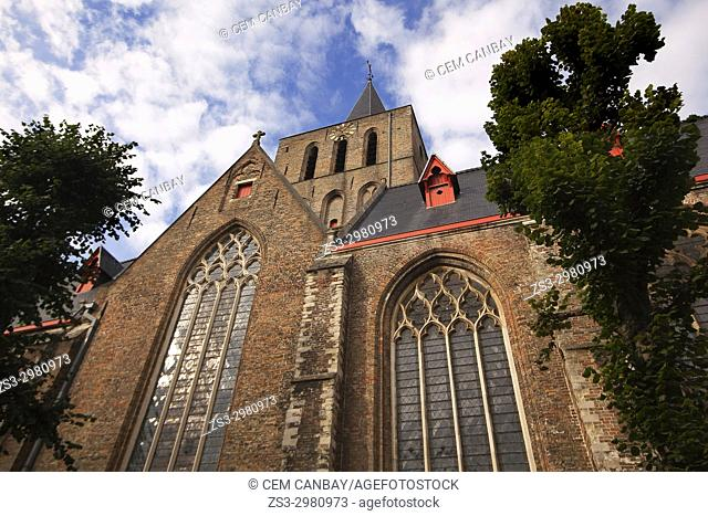 View to the facade of the Saint Giles Church-Sint Gilliskerk, Bruges, West Flanders, Belgium, Europe