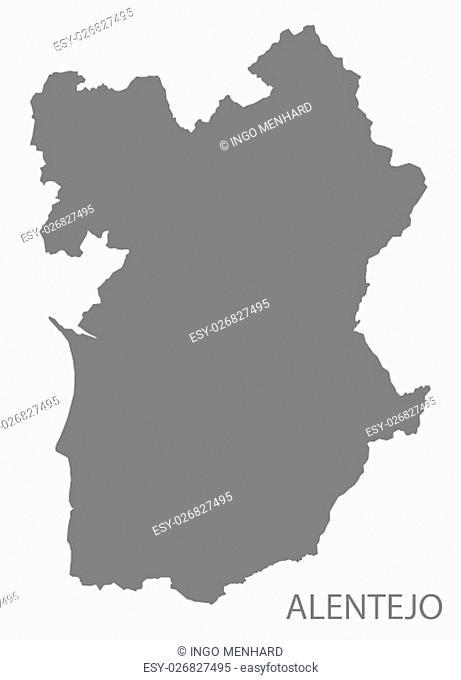 Alentejo Portugal Map in grey