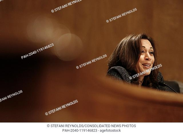 United States Senator Kamala Harris (Democrat of California) questions officials from the Department of Justice and the Department of Homeland Security during...