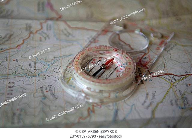 A compass on a geophysical map