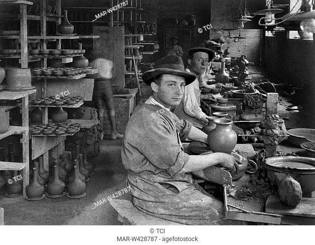 potteries factory, deruta, umbria, italy, 1930