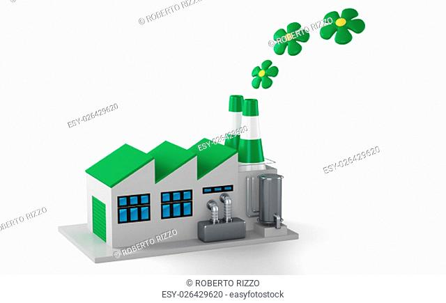 Environmentally friendly factory concept. Green factory isolated on white background