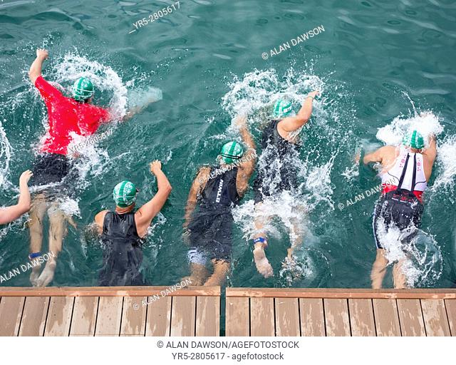 Las Palmas, Gran Canaria, Canary Islands, Spain. Start of the swim in the Atlantic Ocean at the Las Palmas triathlon on Gran Canaria