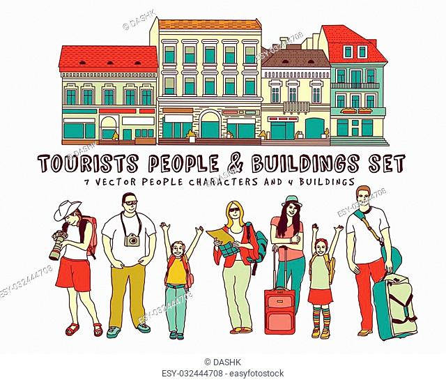 Tourists people and buildings isolate on white. Color vector illustration. EPS8
