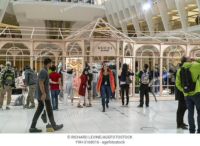 A branding event for the fragrance Gucci Bloom Nettare di Fiori attracts visitors at the Oculus at the World Trade Center on Sunday, September 9, 2018
