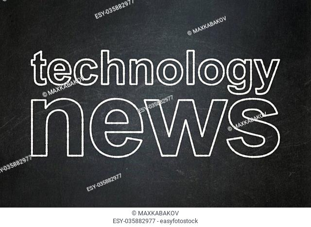News concept: Technology News on chalkboard background