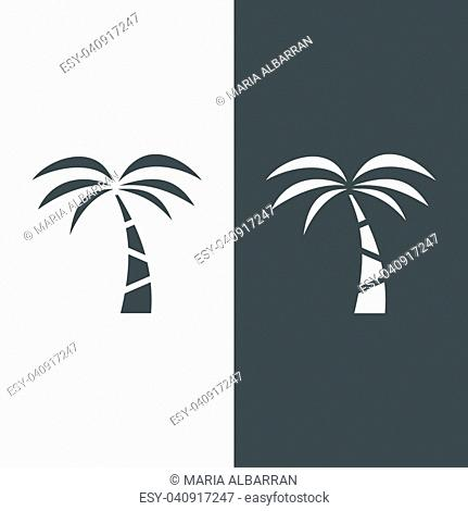Palm tree icon on a black and white background. Vector illustration