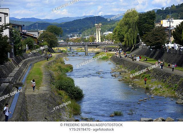 River and walkway in Takayama,Gifu Prefecture,Japan,Asia