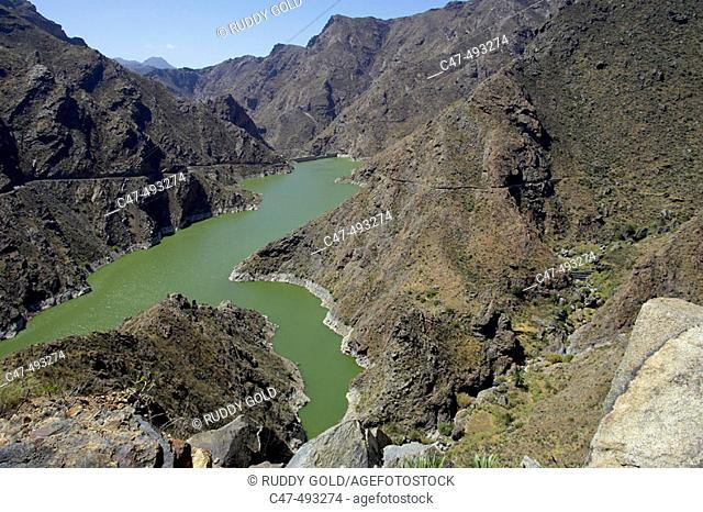 Parralillo reservoir, Gran Canaria, Canary Islands, Spain