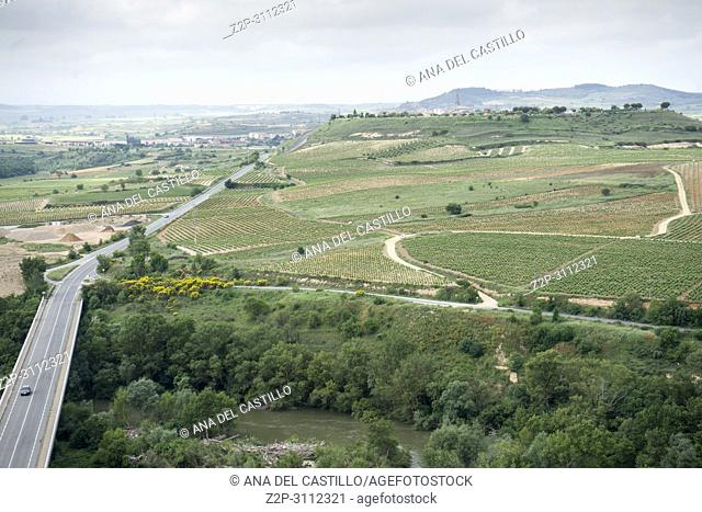 San Vicente de la Sonsierra in La Rioja Spain. Road and fields from the castle