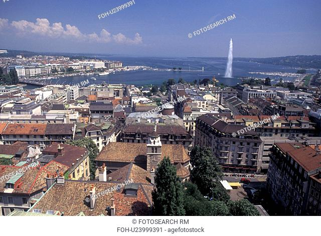 Geneva, Switzerland, Aerial view of the city of Geneva and Lake Geneva with the Jet d' Eau from St. Peter's cathedral (cathedrale St. Pierre)