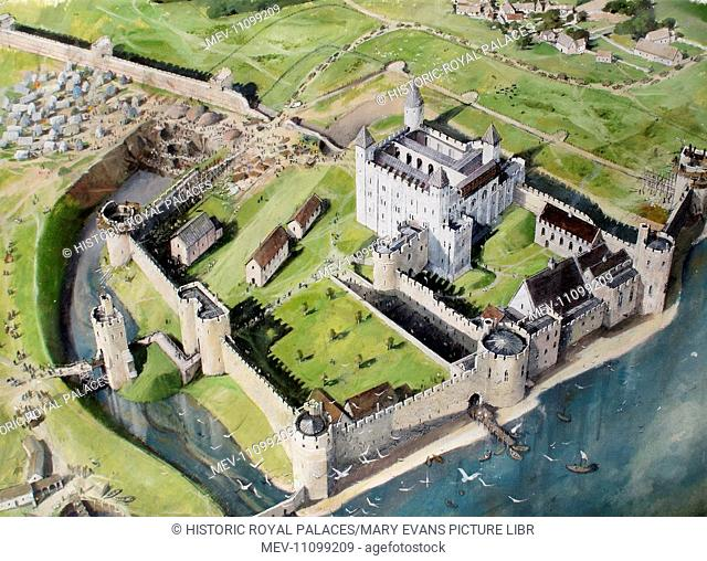 Reconstructed view of the Tower of London from the south west in about 1240, showing King Henry III's enlargement of the castle and the digging of the new moat...