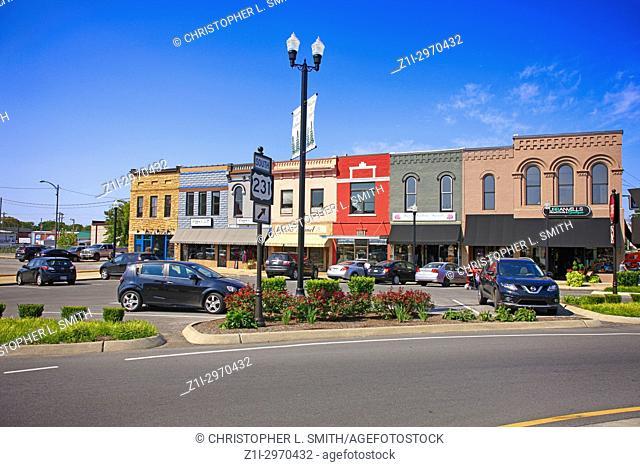 Stores in the Public Square in historic downtown Lebanon TN, USA
