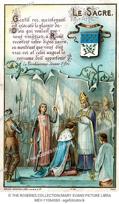 Chromolithograph Devotional Card - Joan of Arc - 'Le Sacre' - Charles crowned King Charles VII of France in Reims Cathedral on 17th July 1429