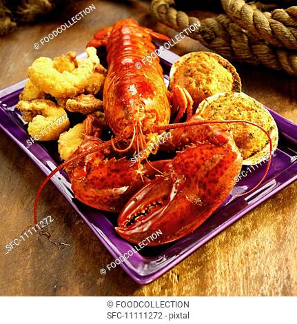 Seafood Platter with Lobster, Fried Shrimp and Stuffed Clams
